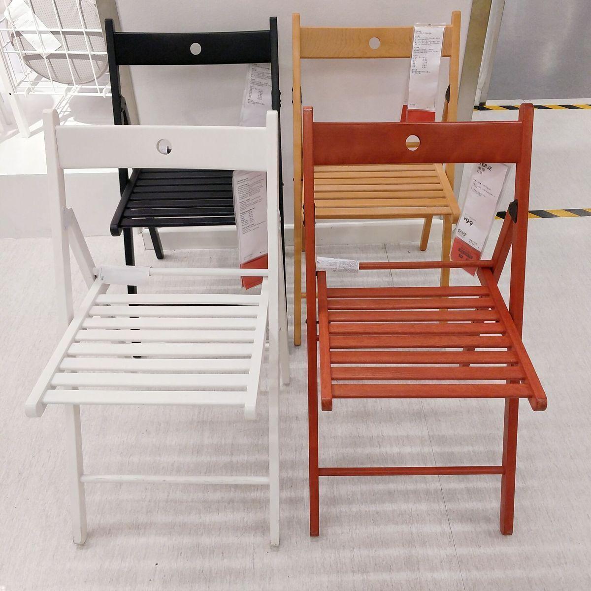 南京IKEA宜家家居国内代购泰耶折叠椅子餐椅实榉木带靠背户外休闲
