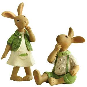 米子家居 田园风格装饰品创意礼品树脂摆件生日礼物 兔子摆设摆件