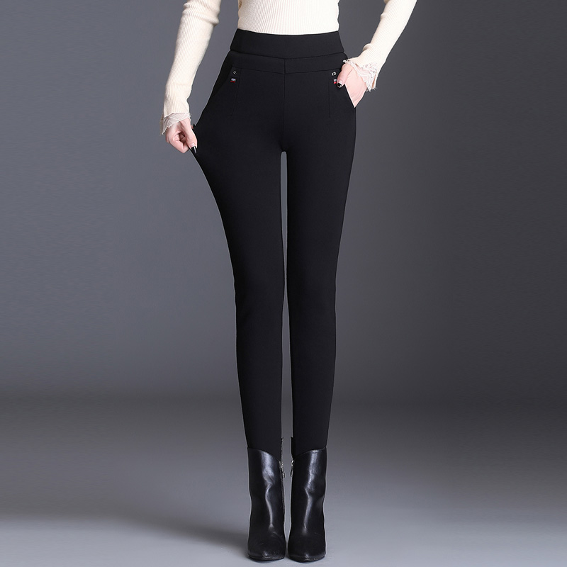 Korean casual pants womens Plush thickened pencil pants elastic high waisted pants step on feet wear cotton pants warm cashmere pants
