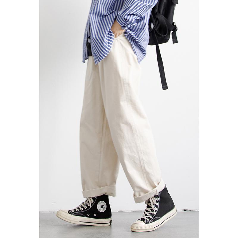 轻岛日系复古基础款锥形直筒工装裤男女BF风宽松情侣百搭休闲长裤