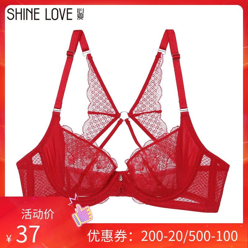爱慕集团心爱正品内衣 3/4蕾丝薄杯红色本命年婚庆文胸SL13F71