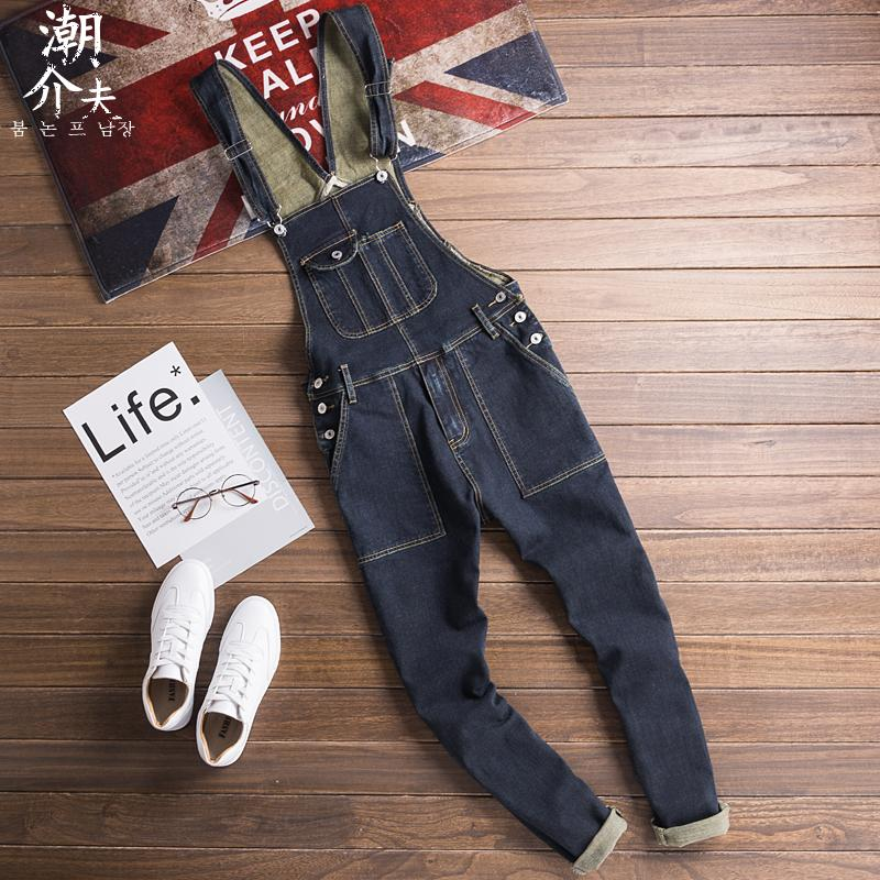 潮流个性牛仔背带工装裤男 日系复古纯色连体吊带裤男士牛仔长裤