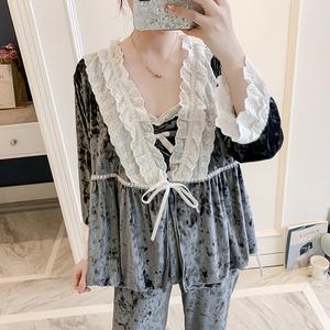 日系甜美性感丝绒睡衣女春季吊带丝绸薄绒长袖蕾丝家居服三件套装