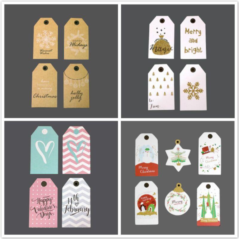 圣诞吊牌 节日闪粉吊牌烫金吊卡 礼品包装卡片配件留言卡贺卡