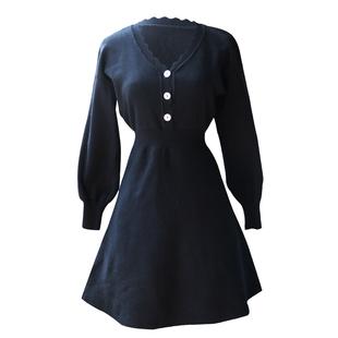 JUJU2019春秋新款長袖V領法式復古裙針織連衣裙女小黑裙氣質短裙