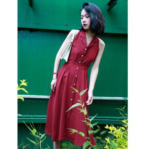 新款法式少女复古酒红色连衣裙 赫本风小红裙收腰大摆裙子春夏季