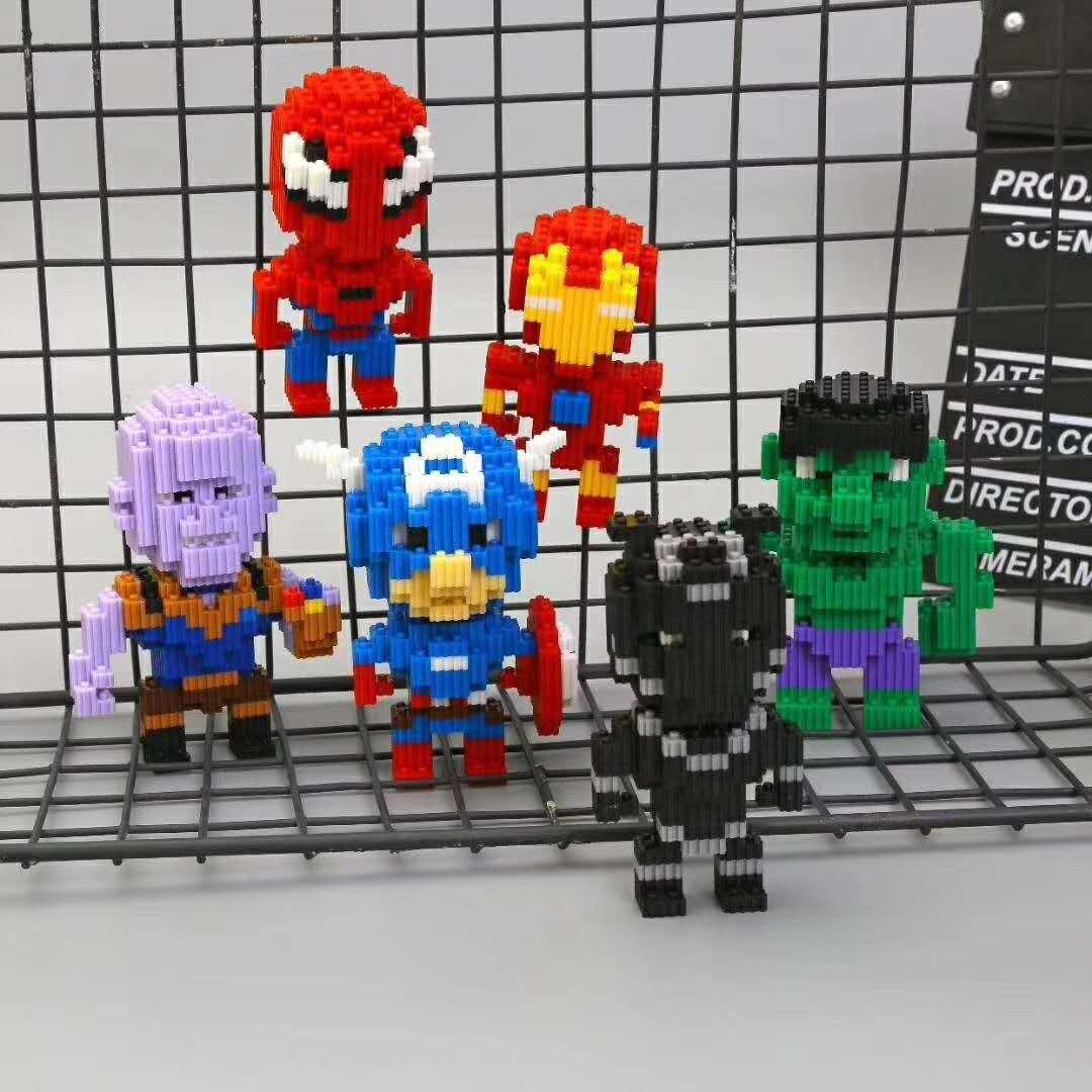 钻石颗粒复仇者联盟系列创意组装diy益智儿童蜘蛛侠玩具钢铁侠