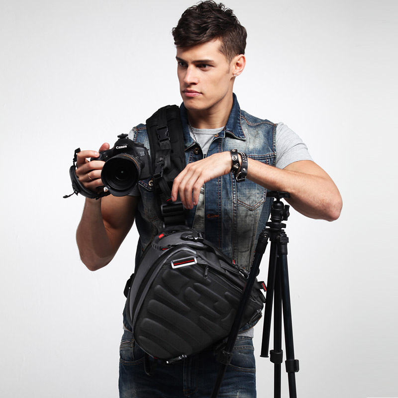 Jr battlefield reporter triangle camera bag photography messenger bag Canon professional SLR bag one machine two mirrors shockproof men