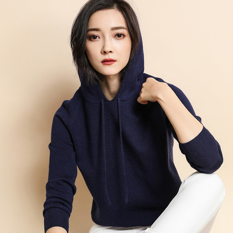 Autumn and winter 2020 new hooded sweater womens Cashmere Sweater Hoodie loose bottomed sweater large sweater trend