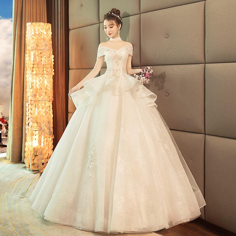 宫廷齐地婚纱礼服2018新款韩式一字肩新娘结婚显瘦大码公主蓬蓬裙
