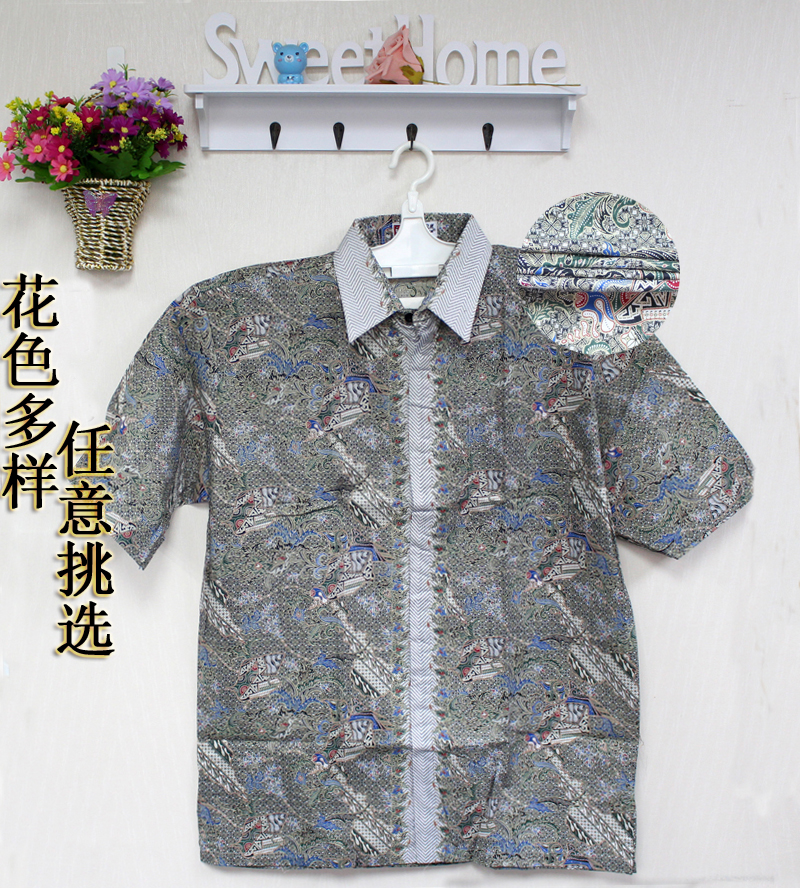 [imported from Indonesia] summer new mens casual large short sleeve Floral Shirt Mens shirt summer XL
