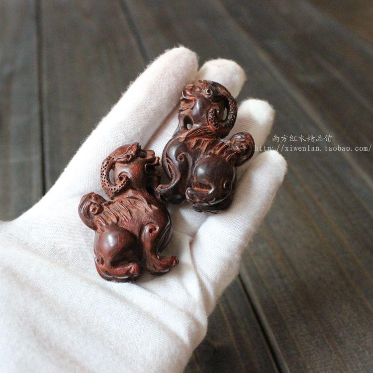 印度小叶紫檀木雕老料站立貔貅手把件挂件红木工艺品祝寿文玩礼品