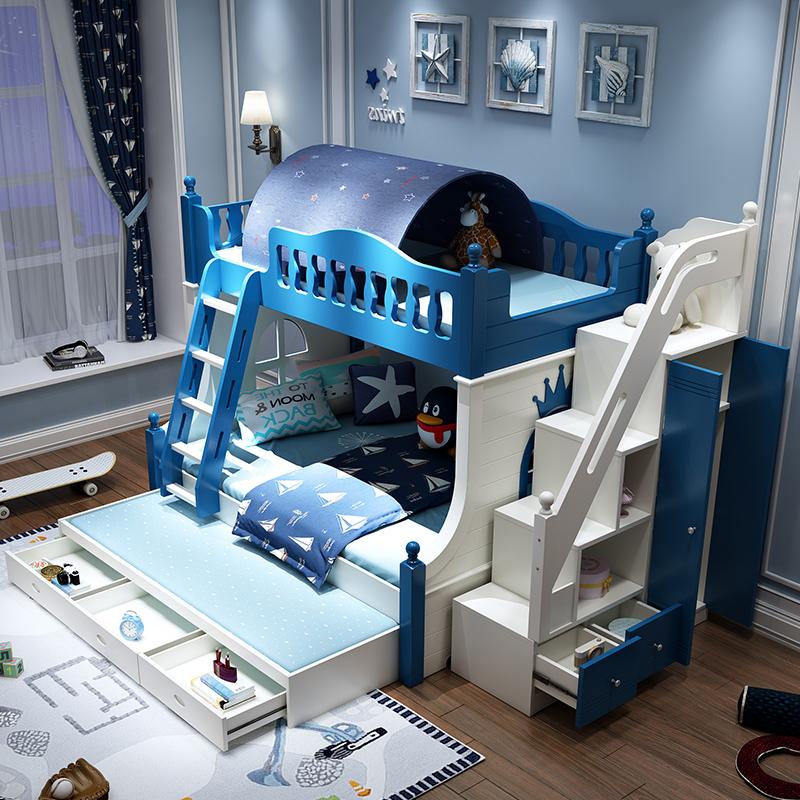 券后2189.60元儿童床上下床高低床男孩上下铺木床双层小户型蓝色地中海带滑滑梯
