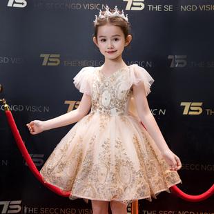 兒童禮服金色閃亮舞台表演服女童主持人走秀演出服花童婚紗蓬蓬裙
