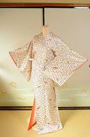 代購古董日本和服Komon女子白色絲綢藝伎長袍402禮服傳統正裝收藏