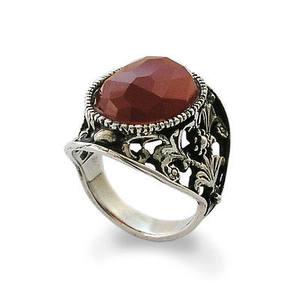 代购925纯银纸牌环金银丝细工装饰 红玛瑙石头24毫米戒指指环男女