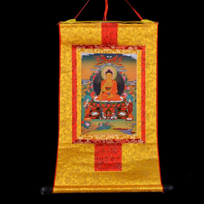 Большой тибет алтарь украшения будда учить статьи позолоченный ( автозагар ) династия тан карта будда так релиз будда Моу нигерия будда три честь долго 40cm желтый
