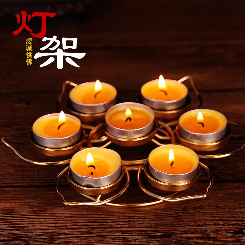 Большой тибет алтарь украшения будда учить статьи семь цветка сливы песочное печенье воск свеча патрон долго маяк полка лотос подсвечник 7 зерна