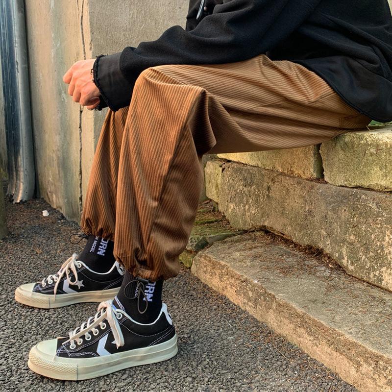 2021 new style pants tide brand corset corduroy loose straight drawstring nine point pants men