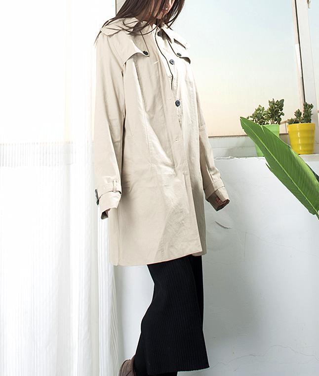 33168春秋新款歐美單寬鬆大碼女裝連帽水洗棉中長款風衣外套DD1-3