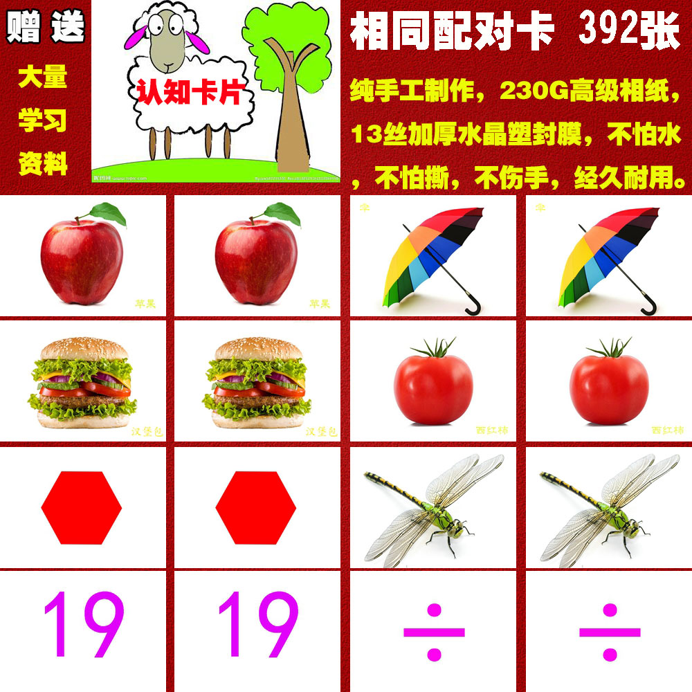 Double 11 special price autistic children rehabilitation training card cognitive understanding language ABA same pair