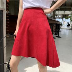 实拍3754#港味复古红色中长款不规则过膝裙高腰半身裙控价不低于5