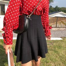 实价实拍 4227#2019秋季新款松紧腰针织短裙A字伞裙打底半身裙