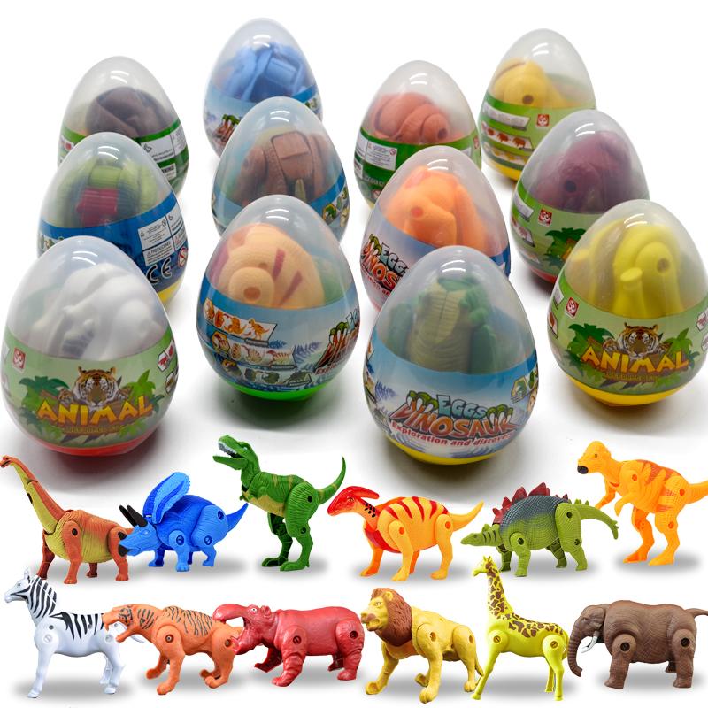 恐龙蛋变形蛋拼装可动小恐龙儿童玩具男孩仿真动物模型三角霸王龙