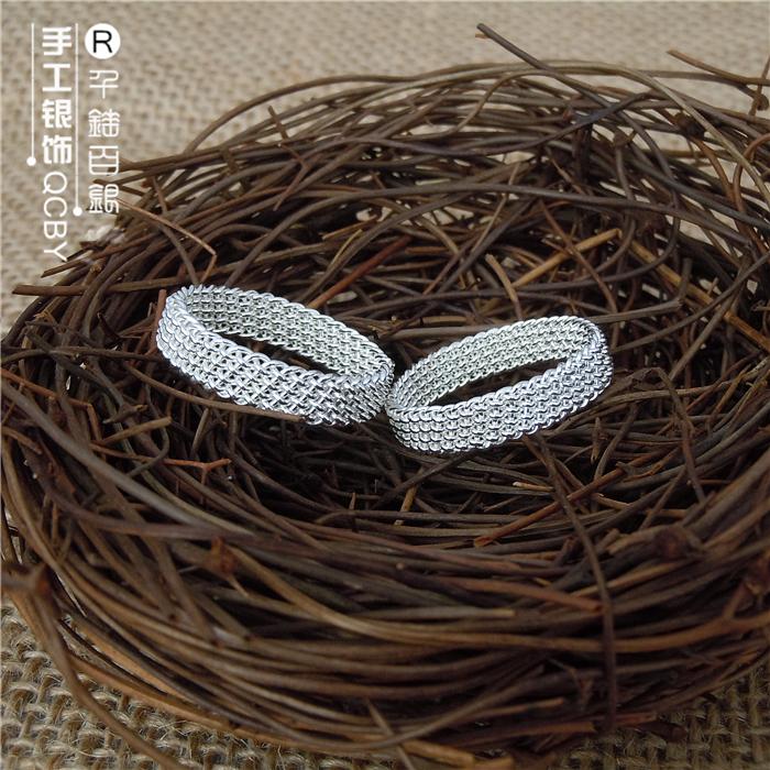 88.00元包邮新品99纯银手工编织编丝情侣银戒指