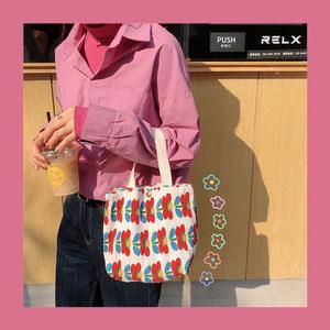 韩国chic小清新可爱碎花手提小包包女小波点手腕布包环保袋便当包