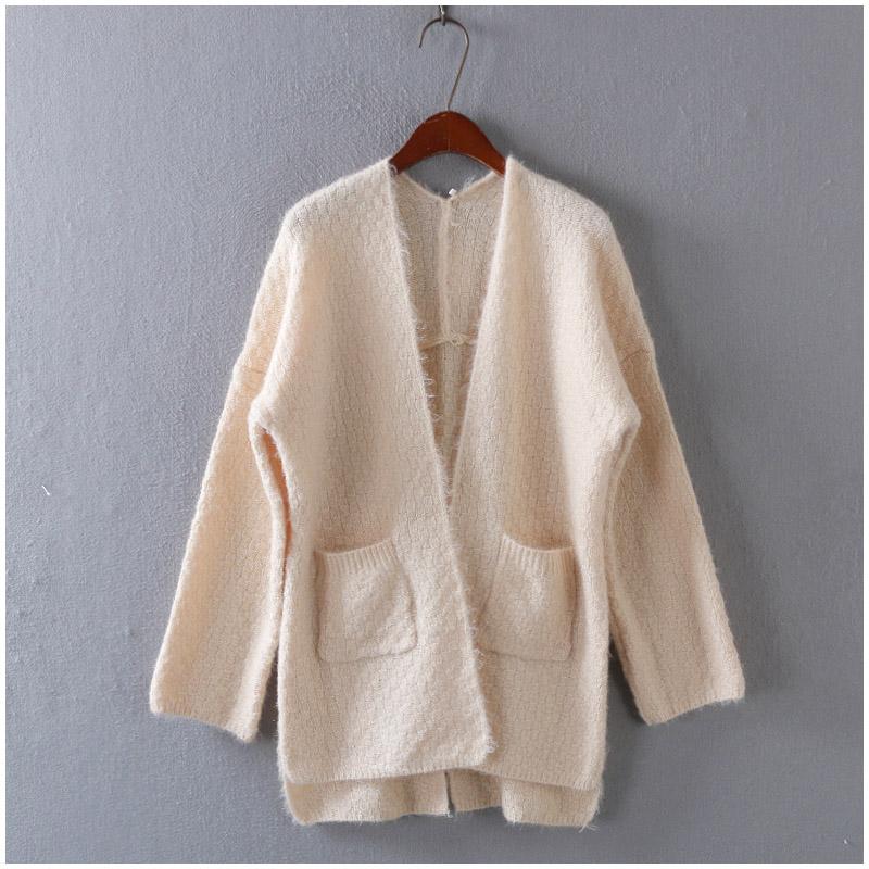 2016 году Корейский институт сплошного цвета с длинным рукавом свободный стиль происходят когда стильный длинный свитер женщин * 15-506-4