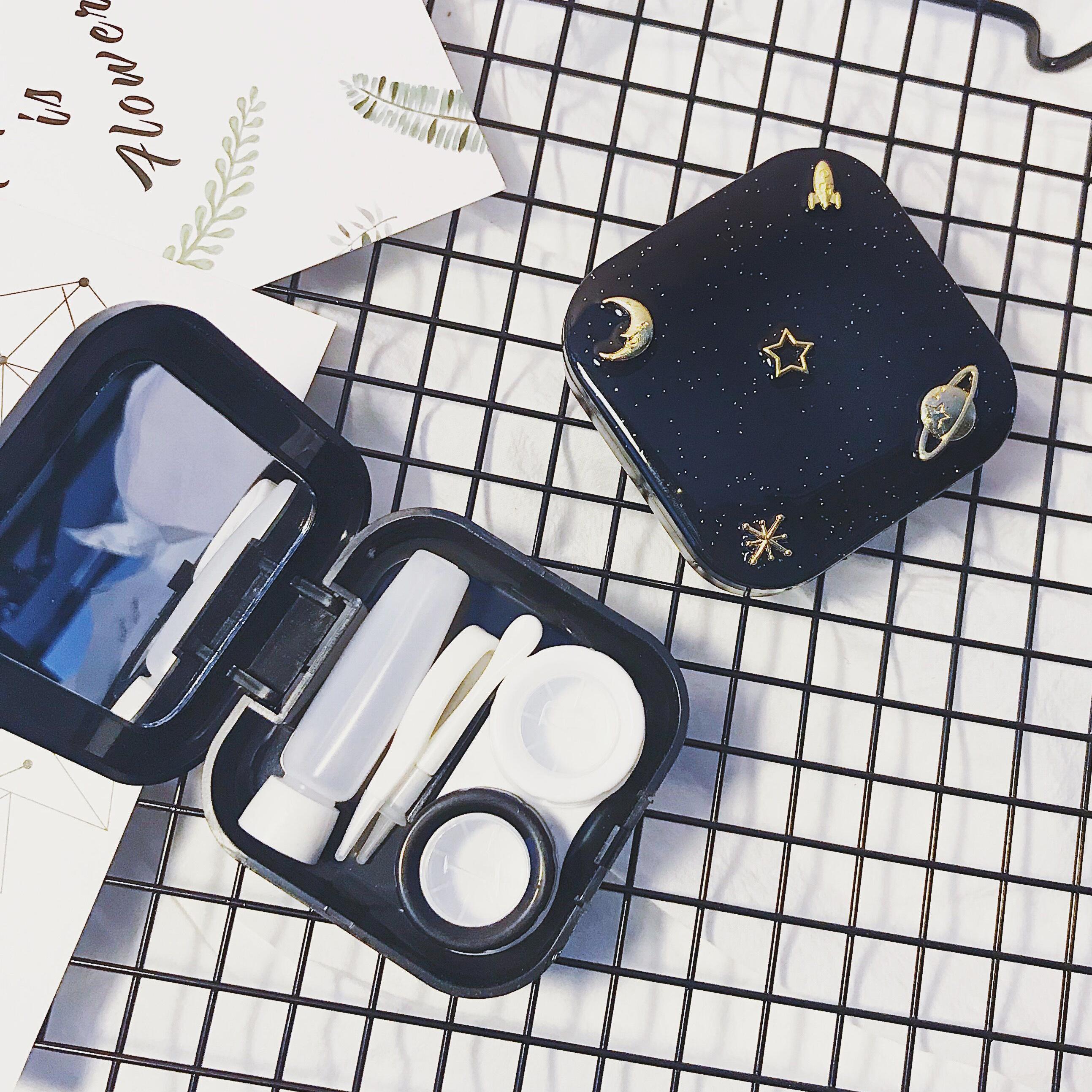 原创简约个性星空隐形近视眼镜盒美瞳双联伴侣盒女式轻巧便携包邮