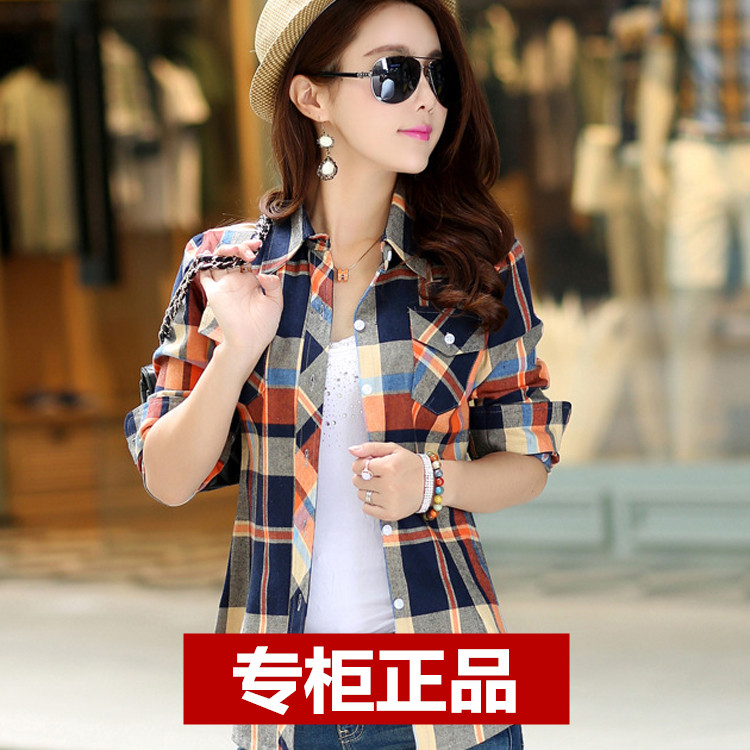 Cotton plaid shirt womens long sleeve 2019 spring and autumn new casual shirt chic large coat Han Fan inch coat