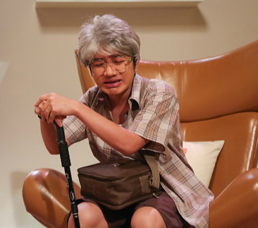 Cos elderly men and women wig short hair role play grandfather old man flower white false head cover white hair