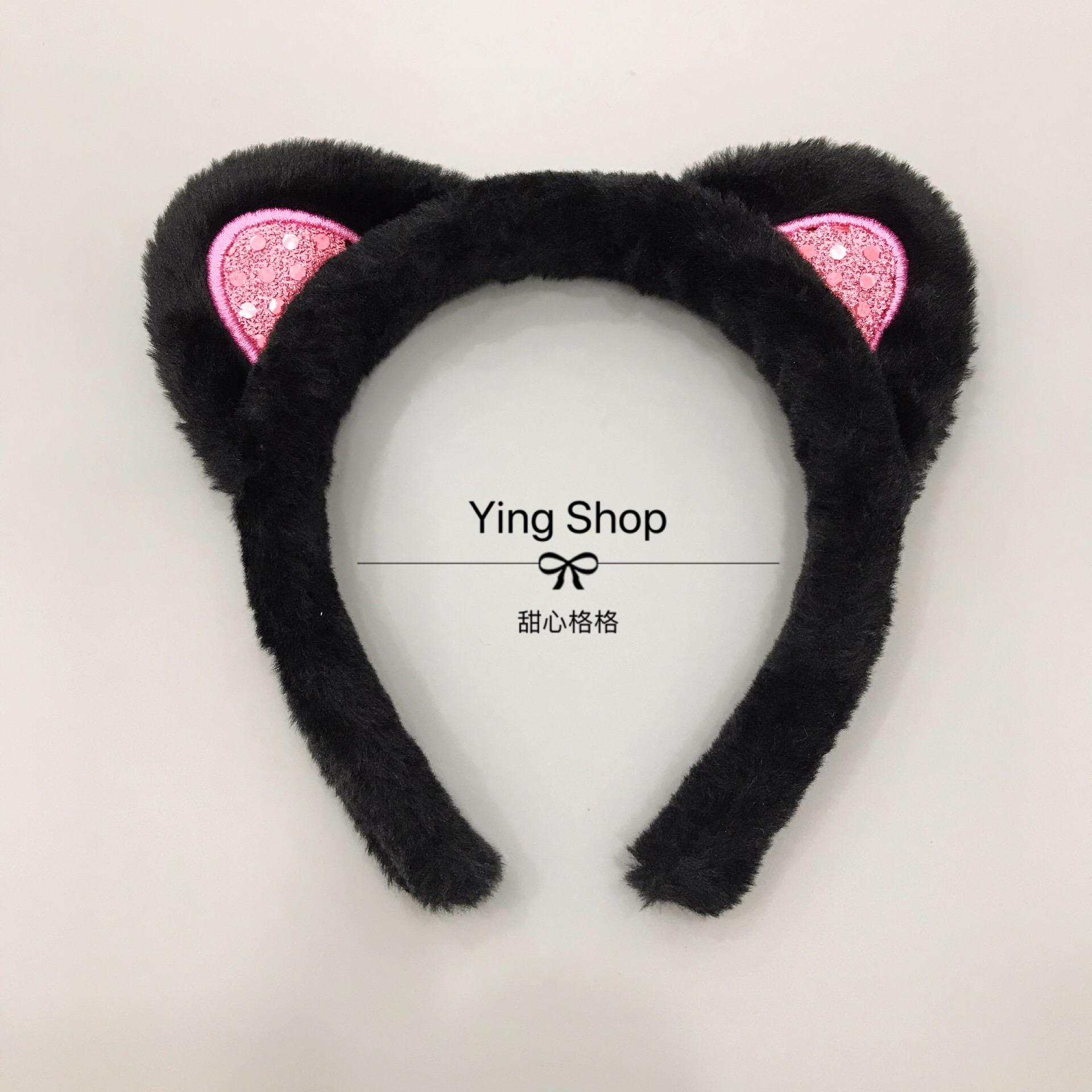 Ying.出口日本小s同款貓耳朵可愛洗臉發箍發帶發卡發飾頭飾頭箍