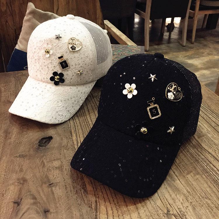 帽子女春夏天蕾丝棒球帽新款潮韩版镶钻时尚百搭休闲鸭舌帽遮阳帽