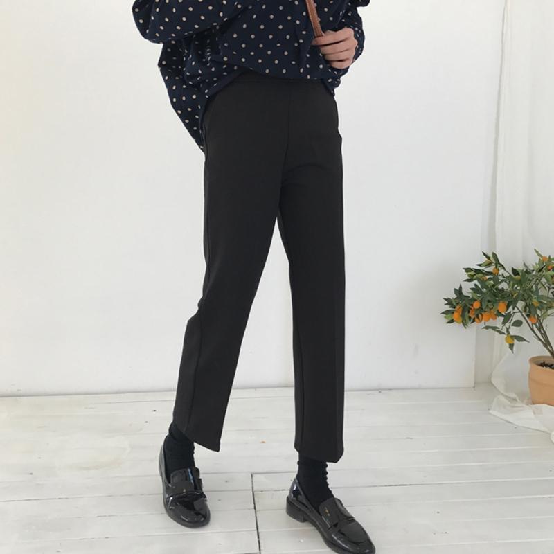 休闲裤女装2019春季新款韩版学生百搭黑色显瘦直筒西装裤九分裤子