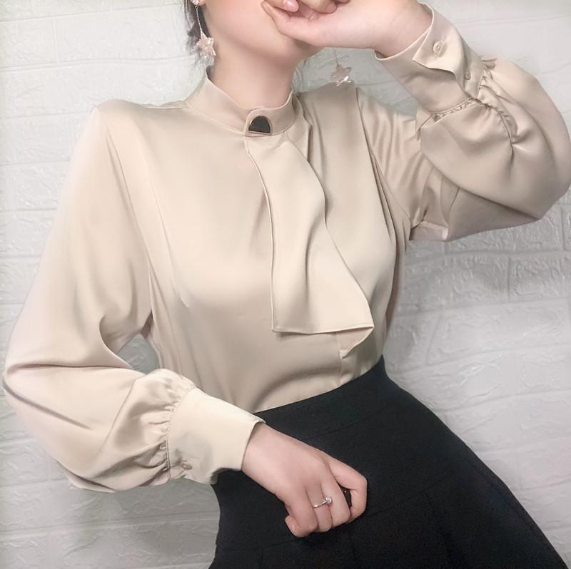 半高领小领结飘带长袖雪纺衫衬衫(非品牌)