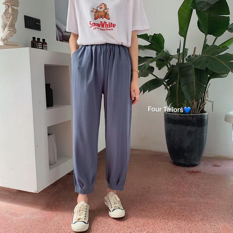 韩版宽松显瘦垂顺丝滑薄款九分裤(用1元券)