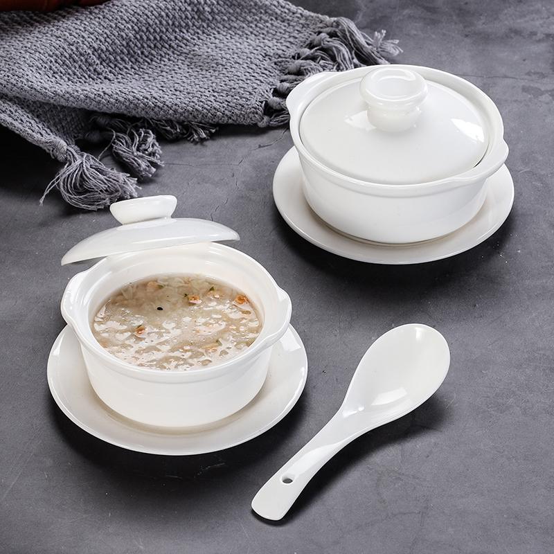 陶瓷西餐汤盅带盖双耳汤盅甜品炖品碗酒店创意炖盅燕窝盅双皮奶碗