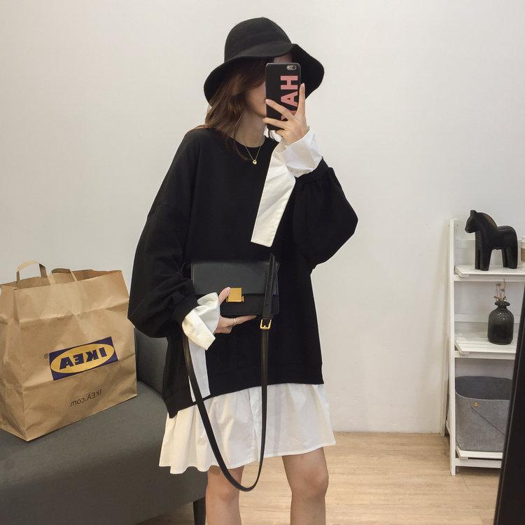 韩版洋气假两件拼接宽松显瘦中长套头卫衣连衣裙女大码长袖绒衫潮
