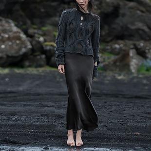 cicidream 黑色 3倍耗料 全身斜裁 线条流畅铜氨丝吊带连衣长裙
