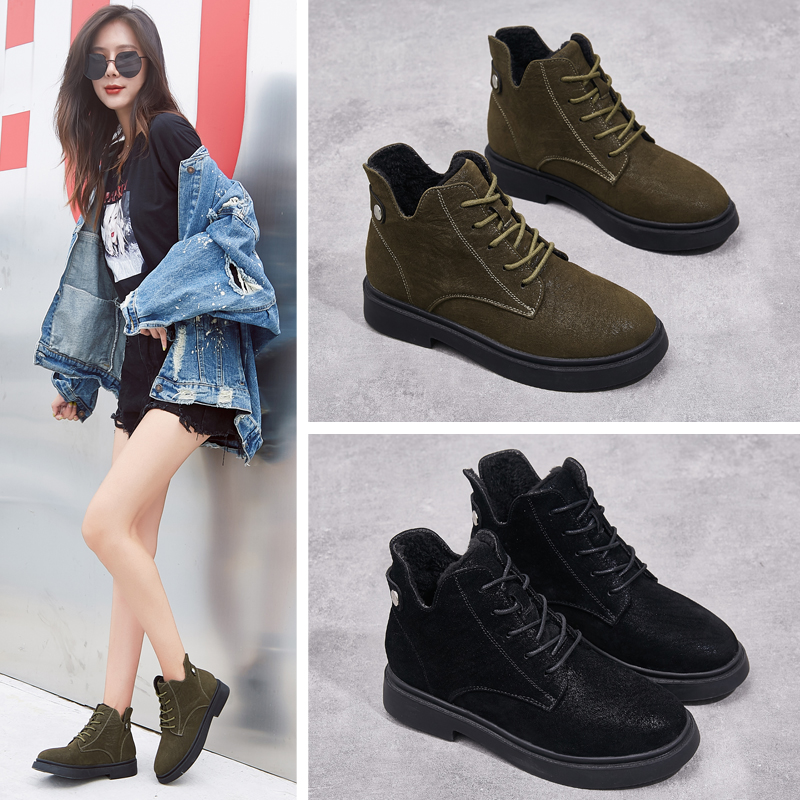 Autumn and winter 2019 new Martin boots womens net red lace up British style black cotton shoes and plush womens boots short boots