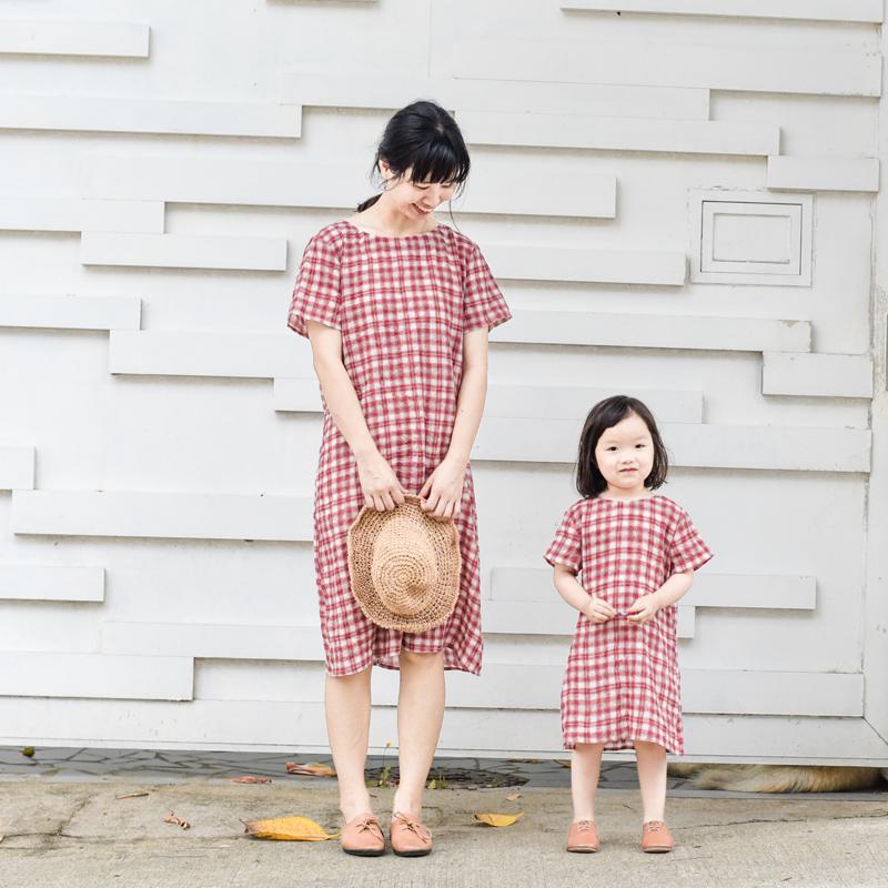 猜猜爱 第571个拥抱母女装 时尚夏装母女裙 格子连衣裙儿童节礼物