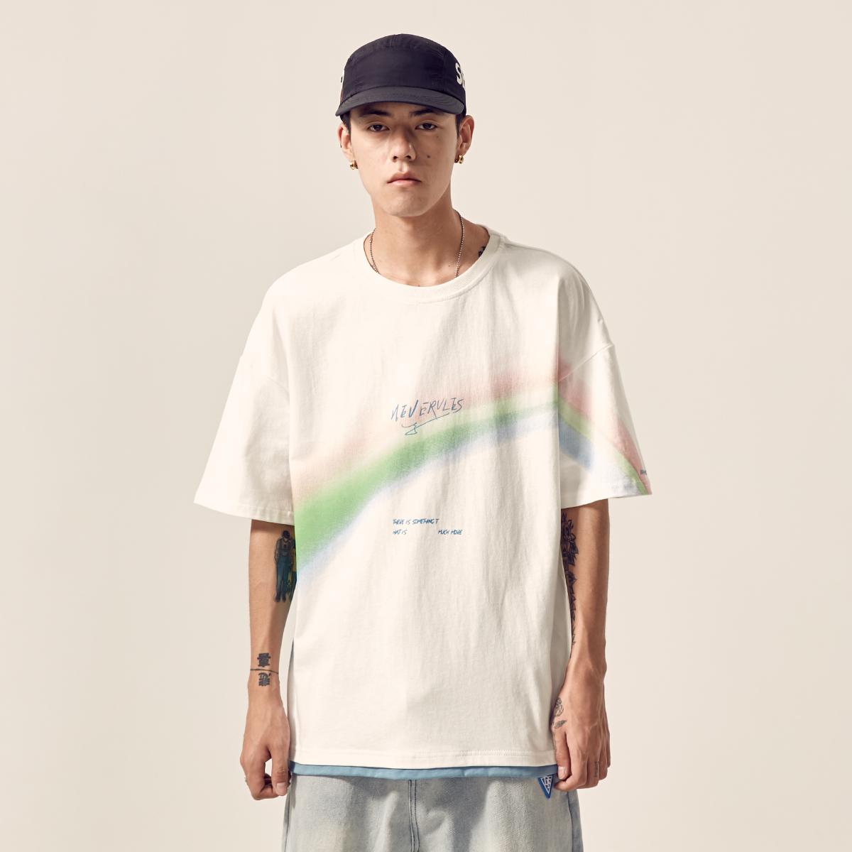 男道夏季新款男士彩虹印花短袖T恤ins纯棉百搭宽松半袖上衣潮牌