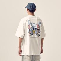男道夏季新款史迪仔印花短袖T恤男宽松网红情侣潮牌ins半袖上衣男