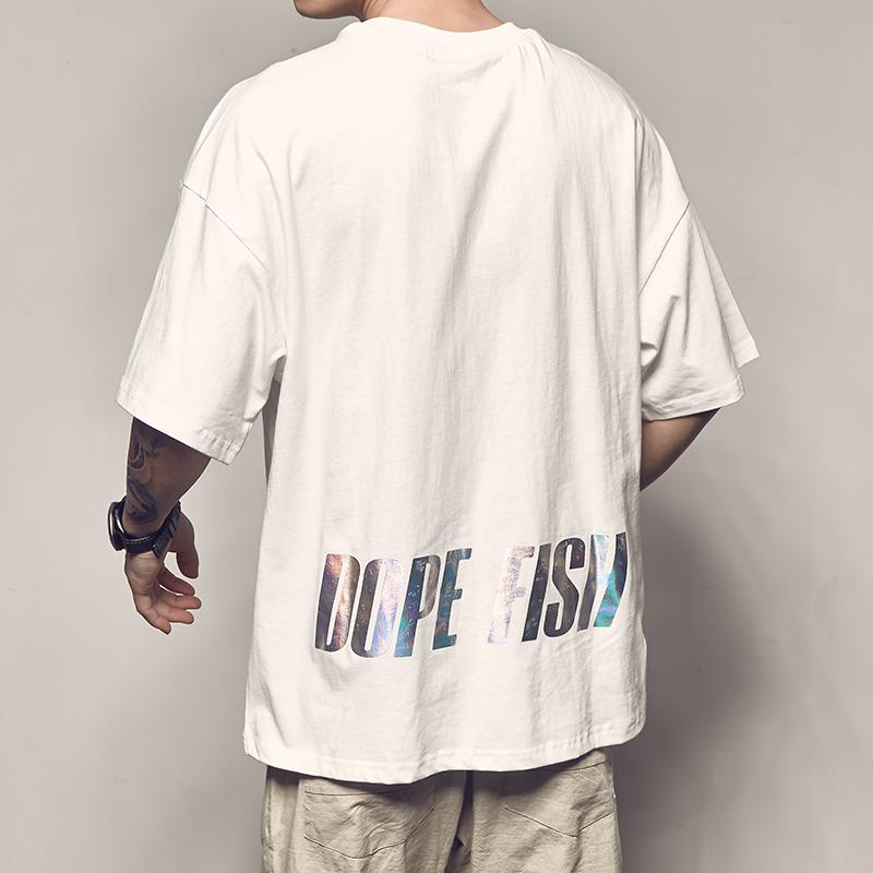 男道夏季新款个性字母印花短袖t恤