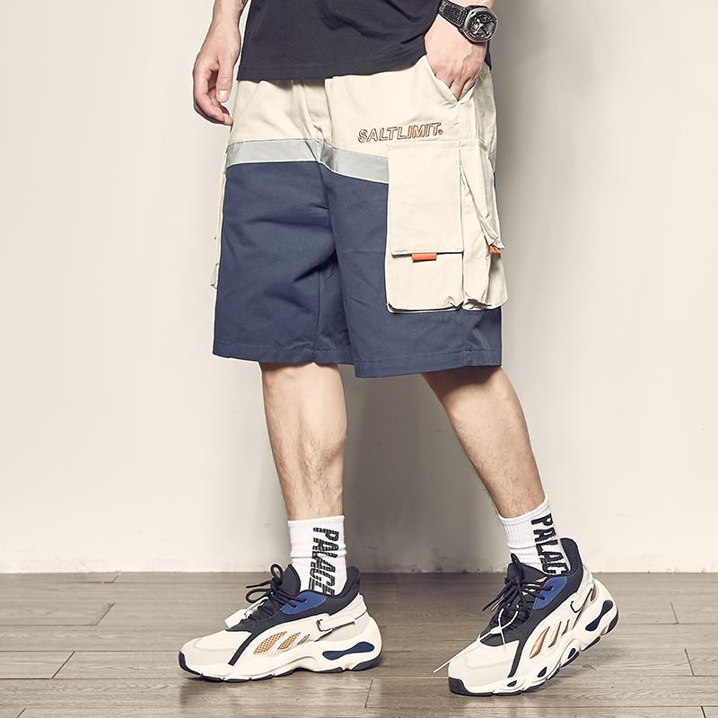 限时抢购男道夏季新款色块拼接工装男士短裤