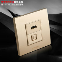 Type 86 cable socket with HD HDMI panel champagne gold Wall Dark home network computer socket