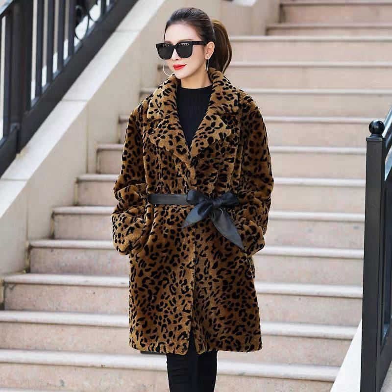 데일리룩 모피 재킷 코트 여성용 롱 레오파드 빅사이즈 여성용